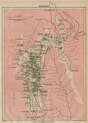 BRITISH INDIA. Matheran Hill station. Maharashtra. 1929 old vintage map chart