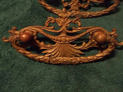 "Ornate Unpolished Cast Brass Early 1900's Drawer Pulls, 3"" Mount, Free S/H"