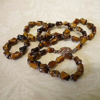 Antique/vintage Filigree Silver Gilt & Tiger's/tigers Eye Nugget Bead Necklace