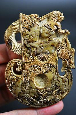 Superb Chinese old jade carved dragon&Axe&people lucky pendant G9