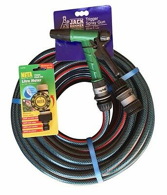 "Garden Water Flexible Hose 50M NYLEX Fittings,Pistol 12MM / 1/2""Free NETA LITRE"