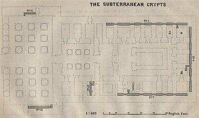 THE SUBTERRANEAN CRYPTS at DENDERA floor plan. Egypt. BAEDEKER. SMALL 1914 map