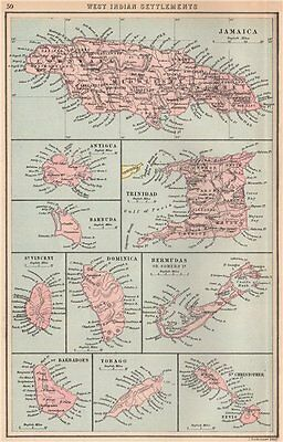 BRITISH WEST INDIES Jamaica Antigua Trinidad Dominica Bermuda Barbados 1878 map