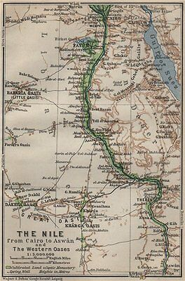 THE NILE VALLEY. CAIRO to ASWAN & the WESTERN OASES. Egypt. BAEDEKER 1914 map