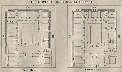 THE CRYPTS OF THE TEMPLE AT DENDERA floor plan. Egypt. BAEDEKER. SMALL 1914 map