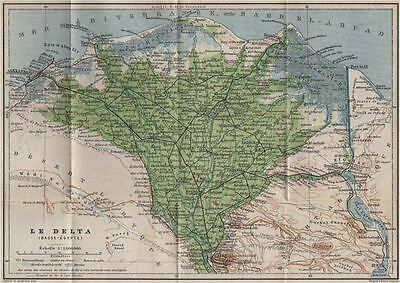 THE NILE DELTA. LOWER EGYPT. BASSE-ÉGYPTE. BAEDEKER 1914 old antique map chart