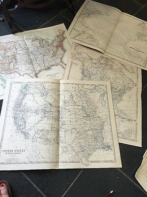5 VINTAGE FOLDED ATLAS MAPS USA - KEITH JOHNSTON PUBLISHED W. BLACKWOOD Scribner
