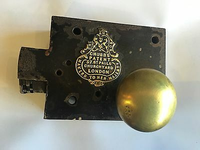 VINTAGE ANTIQUE CHUBB & SON DOOR LOCK LATCH 5 Lever