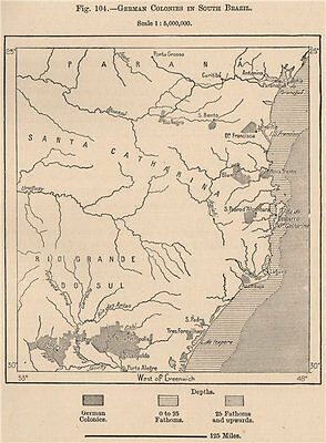 German Colonies in South Brazil 1885 old antique vintage map plan chart