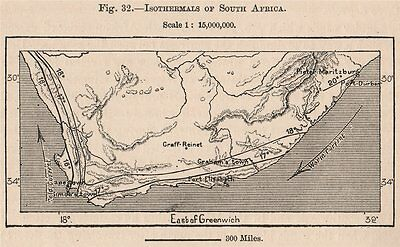 Isothermals of South Africa 1885 old antique vintage map plan chart