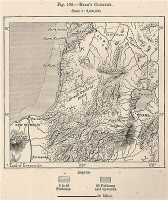 King's Country. New Zealand 1885 old antique vintage map plan chart