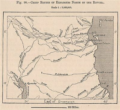 Chief explorers routes north of the Rovuma.Tanzania.German East Africa 1885 map