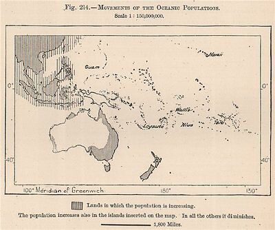 Movements of the Oceanic Populations. Oceania. Polynesia 1885 old antique map