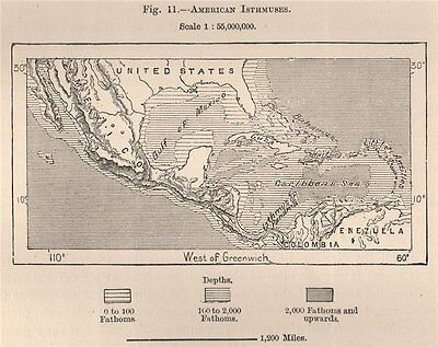 American Isthmuses. Caribbean 1885 old antique vintage map plan chart