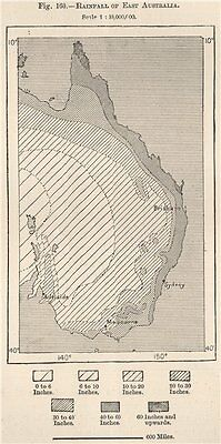 Rainfall of East Australia 1885 old antique vintage map plan chart