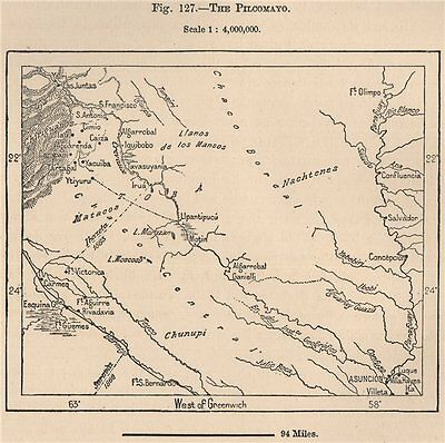 The Pilcomayo. Paraguay 1885 old antique vintage map plan chart