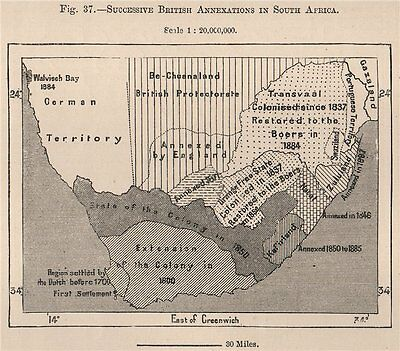 Successive British Annexations in South Africa. Cape Colony 1885 old map
