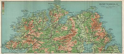IRELAND NORTH COAST Belfast to Donegal. Londonderry Antrim Tyrone 1902 old map