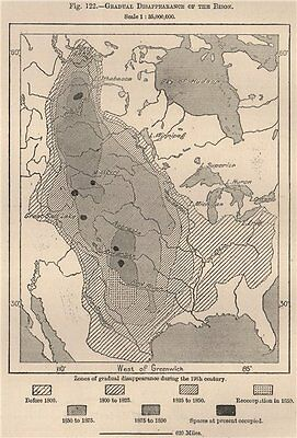 Gradual disappearance of the Bison. USA 1885 old antique map plan chart