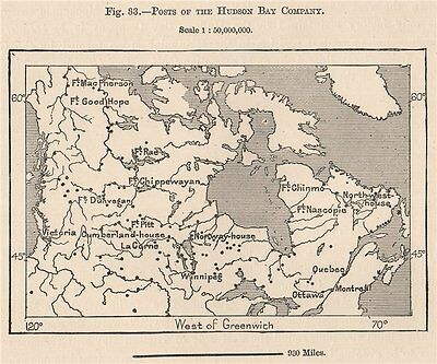 Posts of the Hudson Bay Company. Canada 1885 old antique map plan chart