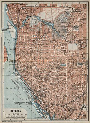BUFFALO antique town city plan. New York State. BAEDEKER 1909 old map