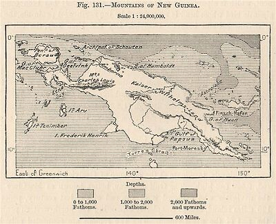 Mountains of New Guinea. Papua New Guinea. Papuasia 1885 old antique map chart