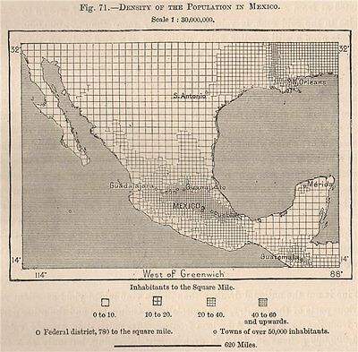 Density of the population in Mexico 1885 old antique vintage map plan chart