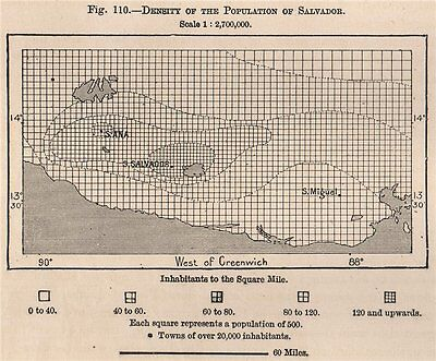 Density of the population of Salvador. El Salvador. Central America 1885 map