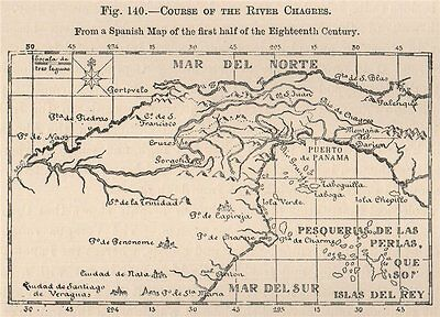 Course of the River Chagres. Panama 1885 old antique vintage map plan chart