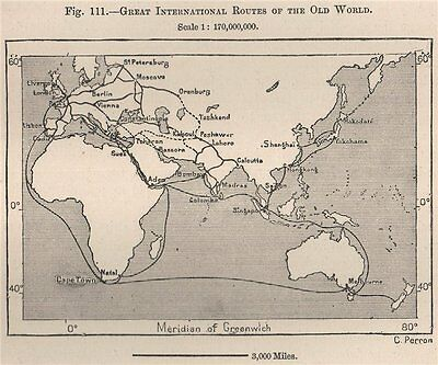 Great International routes of the Old World 1885 antique map plan chart