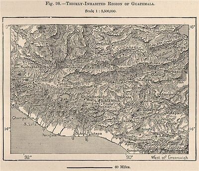 Densely populated South Guatemala. Central America 1885 old antique map chart