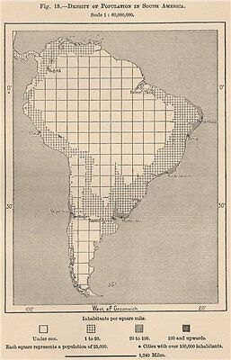 Density of population in South America 1885 old antique vintage map plan chart