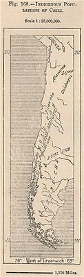 Indigenous populations of Chile. Chile 1885 old antique vintage map plan chart