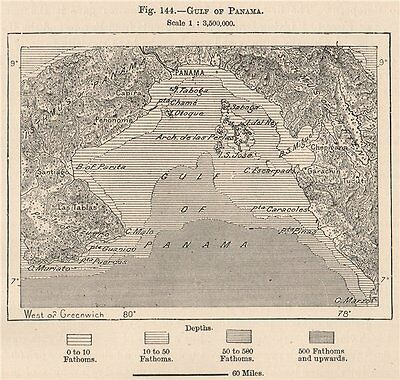 Gulf of Panama 1885 old antique vintage map plan chart