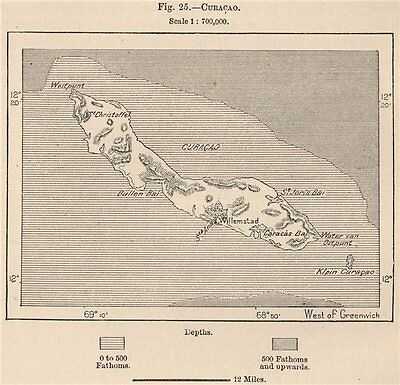 Curacao. Curaçao. Netherlands Antilles 1885 old antique vintage map plan chart