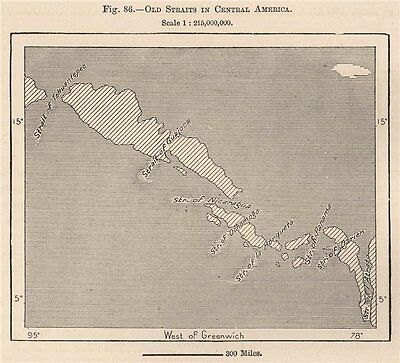 Old Straits in Central America 1885 antique vintage map plan chart