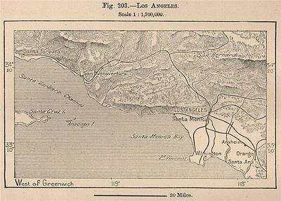 Los Angeles. California 1885 old antique vintage map plan chart