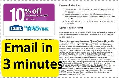 THREE (3x) Lowes 10% OFF PRINTABLE-Coupons -EXP 1/15/2017 Fast Email Delivery!
