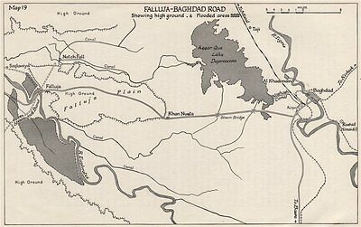 ANGLO-IRAQI WAR 1941. Falluja-Baghdad road. High ground & flooded areas 1956 map