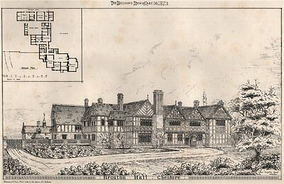 Broxton Hall, Cheshire 1873 old antique vintage print picture