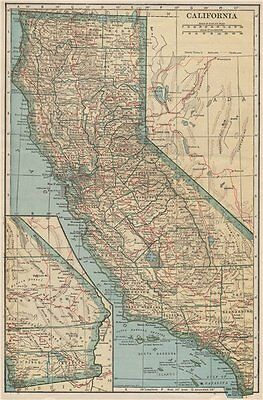 California state map showing railroads. POATES 1925 old vintage plan chart