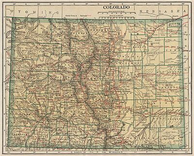 Colorado state map showing railroads. POATES 1925 old vintage plan chart