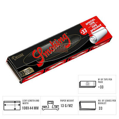 Smoking Deluxe Kingsize Slim Rolling Papers With Tips - Multi Listings Full Box