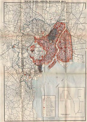GREAT KANTO EARTHQUAKE 1923. Tokyo showing devastated area/fires. Japan 1926 map