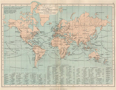 WORLD.Map natural production different lands main routes maritime commerce 1886