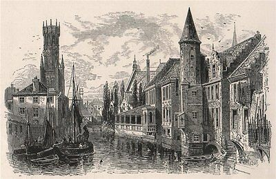 Canal and Belfry at Bruges. Brugge, Belgium 1891 old antique print picture