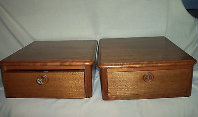 2 Antique Dresser Top WOOD Hankie/Glove DRAWERS w/KEY Excellent Condition