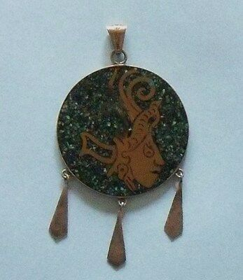 Vintage HAND CRAFTED Latin American Mosaic Inlay FIGURED PENDANT / NECKLACE