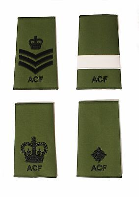ACF Army Cadet Force CFAV Adults Green Rank Slides Black Thread Single or Pair