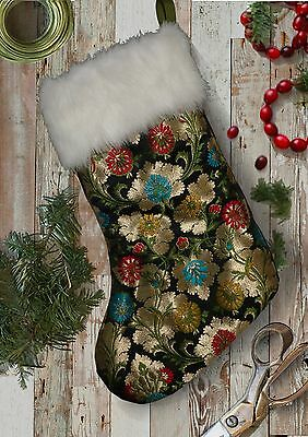 Luxury Floral Embroidered Black Gold Brocade Christmas Stocking with Fur Trim.